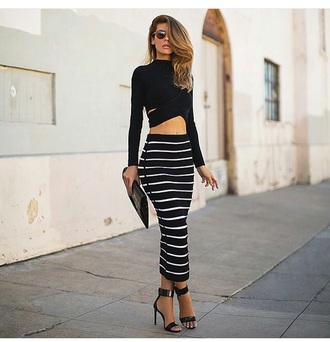 skirt long sleeves black crop top black top black skirt style sunglasses crop tops top maxi skirt maxi stripes striped skirt blouse black shirt black heels high heels shoes cute top cute high heels clutch outfit bag purse accessories high waisted skirt