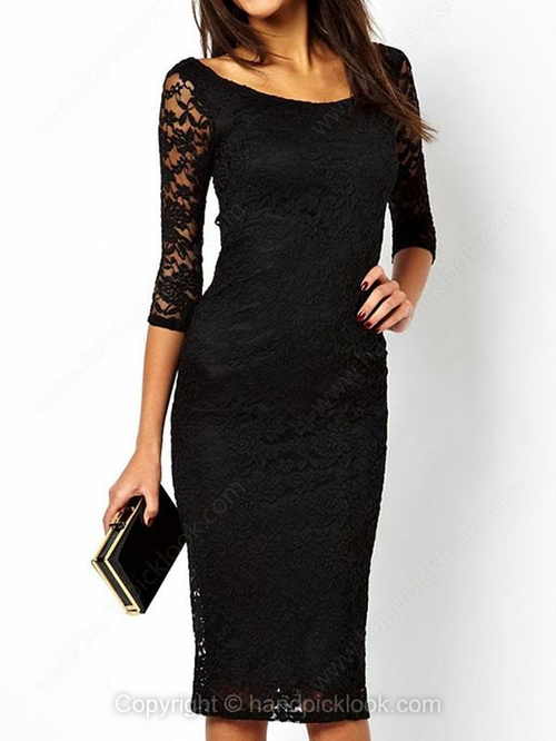 Black Round Neck Three Quarter Length Sleeve Lace Embellished Dress - HandpickLook.com