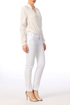 Jean slim avec clous fantaisie Capri Blanc  Ikks women sur MonShowroom.com