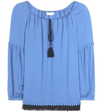 top tunic silk blue