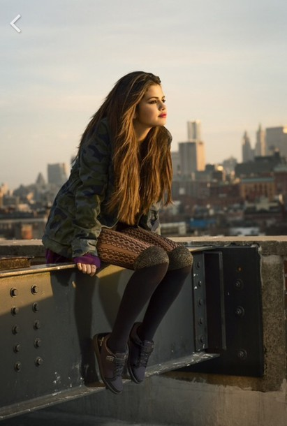 tights style jacket knee high socks selena gomez sneakers parka shoes fall outfits new balance adidas shoes nike air outfit california hair accessory thights leg warmers