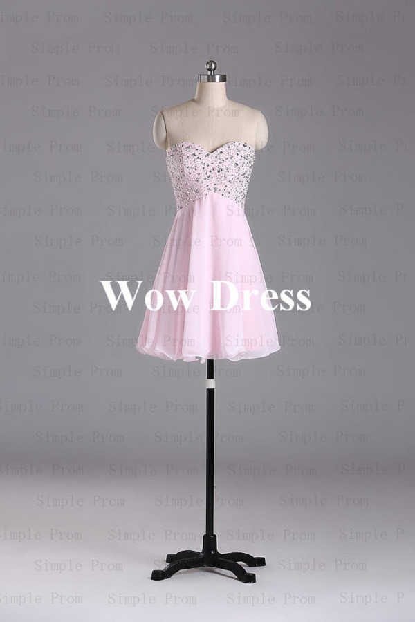 dress short party dress pink party dress beading party dress sweetheart party dress
