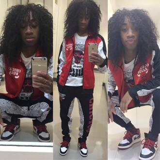 jumpsuit bulls chicago 100 dope swag dude guy girl menswear boy teen outfit joggers red white nike shoes sneakers