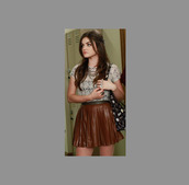 shirt,aria,tv,cute,lucy,hale,girl,aria montgomery,pretty little liars,abcfamily,skirt,ruffle,lucy hale,girly,tumblr,tumblr girl,blouse
