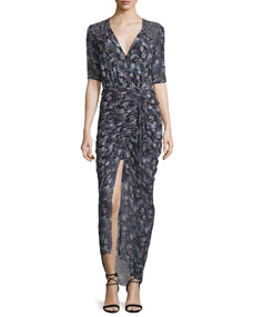 Veronica Beard Mariposa Floral Midi Dress, Black