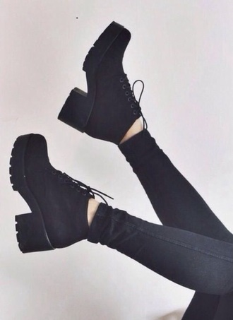 shoes black black boots grunge pleather boots healed boots platform boots black heels