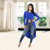 top,luxe aloure,long sleeves,crop tops,royal blue,black,all black everything,urban,casul,cute