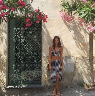 skirt top two-piece midi skirt crop tops emily ratajkowski summer outfits instagram