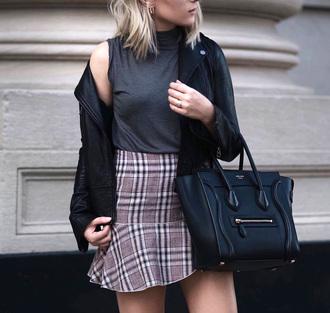 skirt plaid skirt plaid plaid mini skirt bag sleeveless sleeveless top jacket