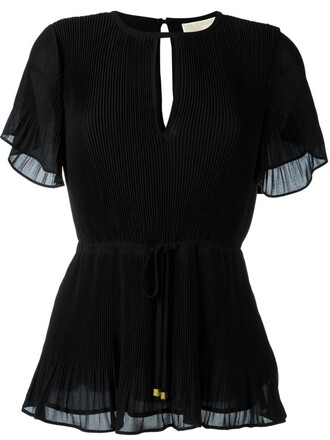 blouse pleated women black top