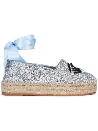 high women espadrilles leather cotton grey metallic shoes