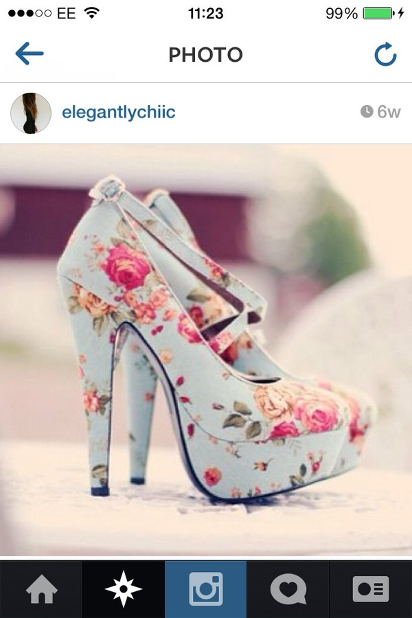 shoes high heels floral shoes blue shoes