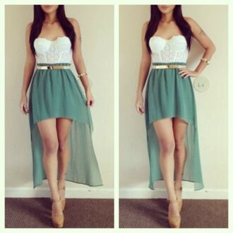dress high-low dresses blouse skirt itsmeez bustier mint green white#green#skirt#top#goldd belt metal