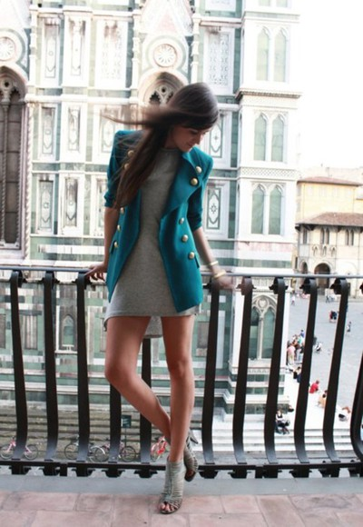 clothes jacket green jacket grey dress high heels