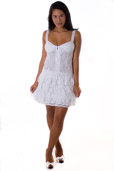 dress short dress white lace dress
