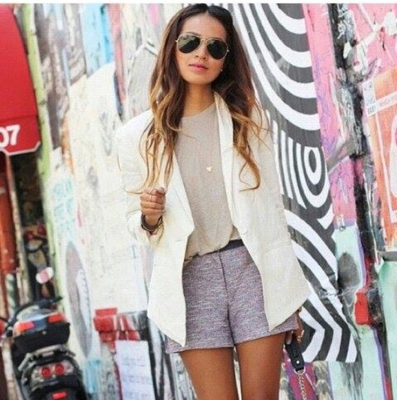 shorts aztec jacket top sunnies white purple beige cute