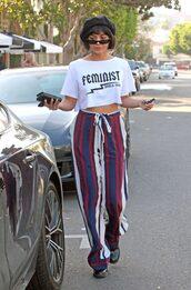 top,t-shirt,white top,white t-shirt,vanessa hudgens,stripes,pants