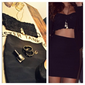 tank top top black short lace crop tops gold outfit clothes party pretty girly