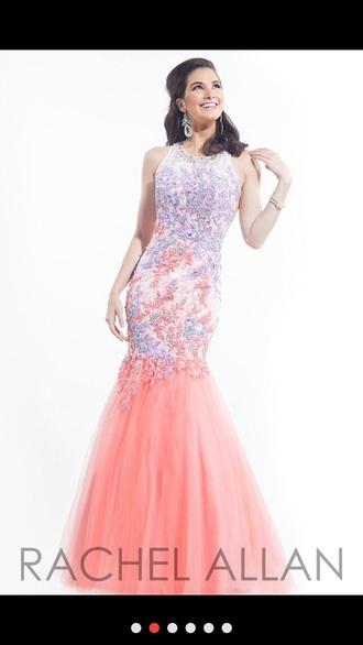 dress prom dress long dress pink and purple