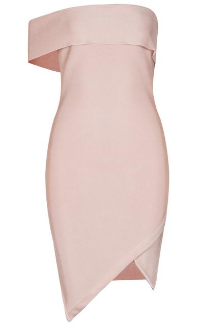 Asymmetric Bardot Bandage Dress Nude