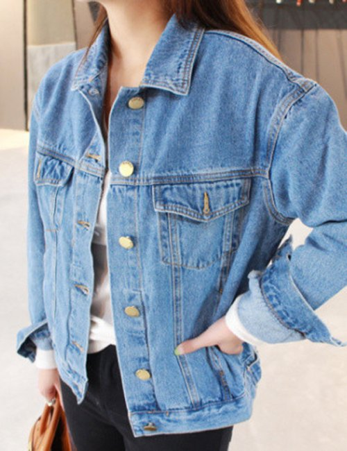 Women's Oversized Long Sleeve Denim Jacket