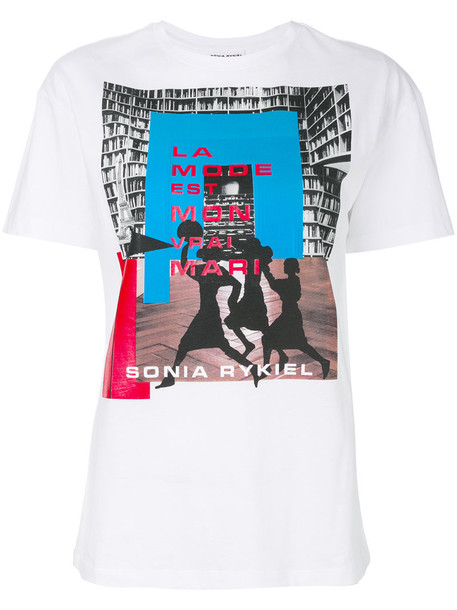 Sonia Rykiel t-shirt shirt printed t-shirt t-shirt women white cotton top