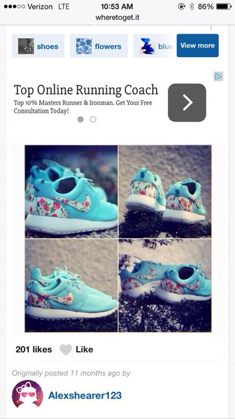 shoes light blue with rose patterned logo nike