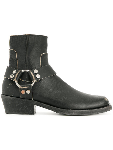 Balenciaga women booties leather black shoes