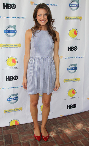 clothes white style elegant actress dress stripes striped dress blue dress white dress summer outfits summer dress girly cute dress girls allison williams
