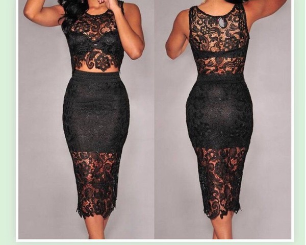 2 piece black lace dress
