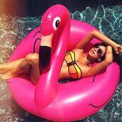 swimwear,bikini,bikini top,shay mitchell,instagram,summer,pool accessory,flamingo