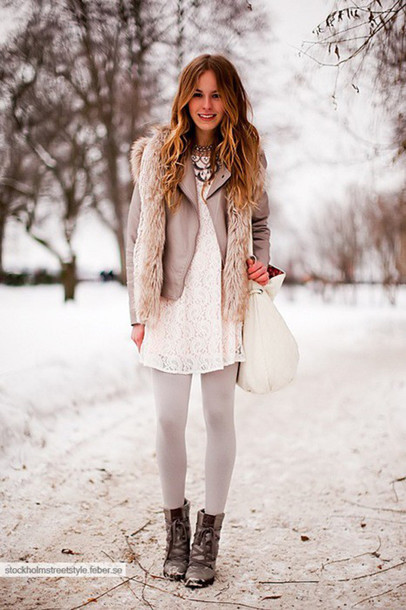 jacket boots tights beige shirt fur vest winter outfits necklace bag lace