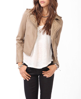 Spiked collar moto jacket on wanelo