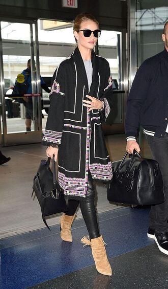 coat rosie huntington-whiteley ankle boots pants sunglasses jacket spring jacket