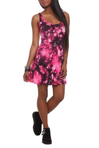 dress pink galaxy dress