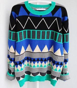 Diamond geometric pattern loose pullover