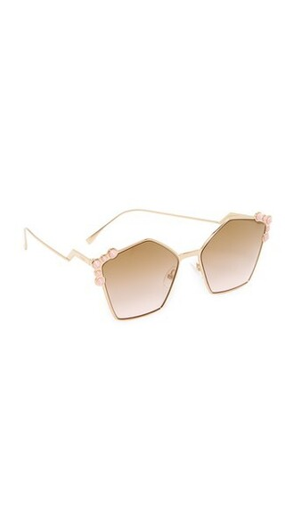 geometric sunglasses rose gold rose gold brown
