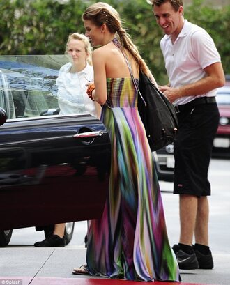 dress maxi dress annalynne mccord 90210 multicolor streetwear streetstyle street style summer outfits summer dress clothes boho the blonde salad blonde hair acid wash dip dyed tie dye beach
