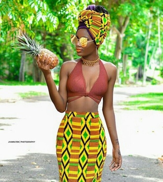 skirt african american african print dashiki african style afropunk afrocentric black girls killin it dope curvy glasses top cute