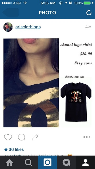 black gold black and gold chanel shirt cool pop art fashion