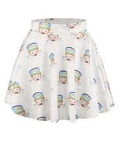 skirt,angel,white,cute,emoji print,ANGEL SMILES PRINT MINI SKIRT,kawaii,fashion,style,trendy,teenagers,summer,it girl shop,angels