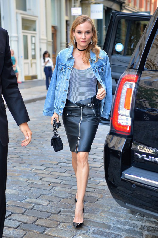Skirt Leather Skirt Leather Diane Kruger Pumps Top