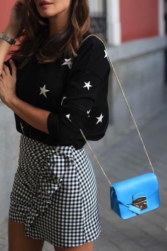 top tumblr stars black top bag chain bag blue bag skirt mini skirt ruffle checkered skirt checkered