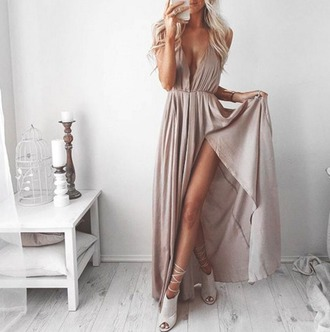 dress boho nude slit dress