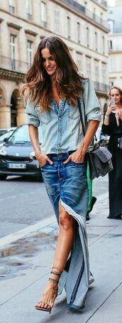 skirt,denim skirt,maxi skirt,slit skirt,blue skirt,denim shirt,shirt,blue shirt,sandal heels,sandals,nude sandals,model
