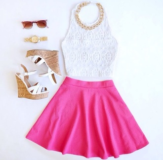 top white crop tops accessories style sunglasses wedges necklace skater skirt girly watch gold hot jewels