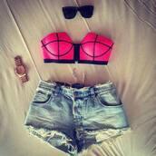 t-shirt,swimwear,hot pink,black,bandeau bikini