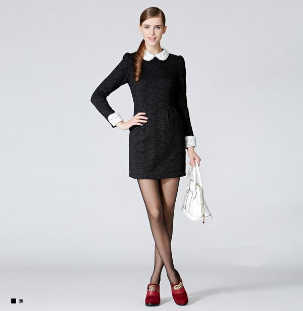Contrast Crochet-Collar Lace Dress - O.SA | YESSTYLE