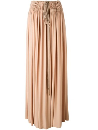 skirt maxi skirt maxi women drawstring cotton silk purple pink