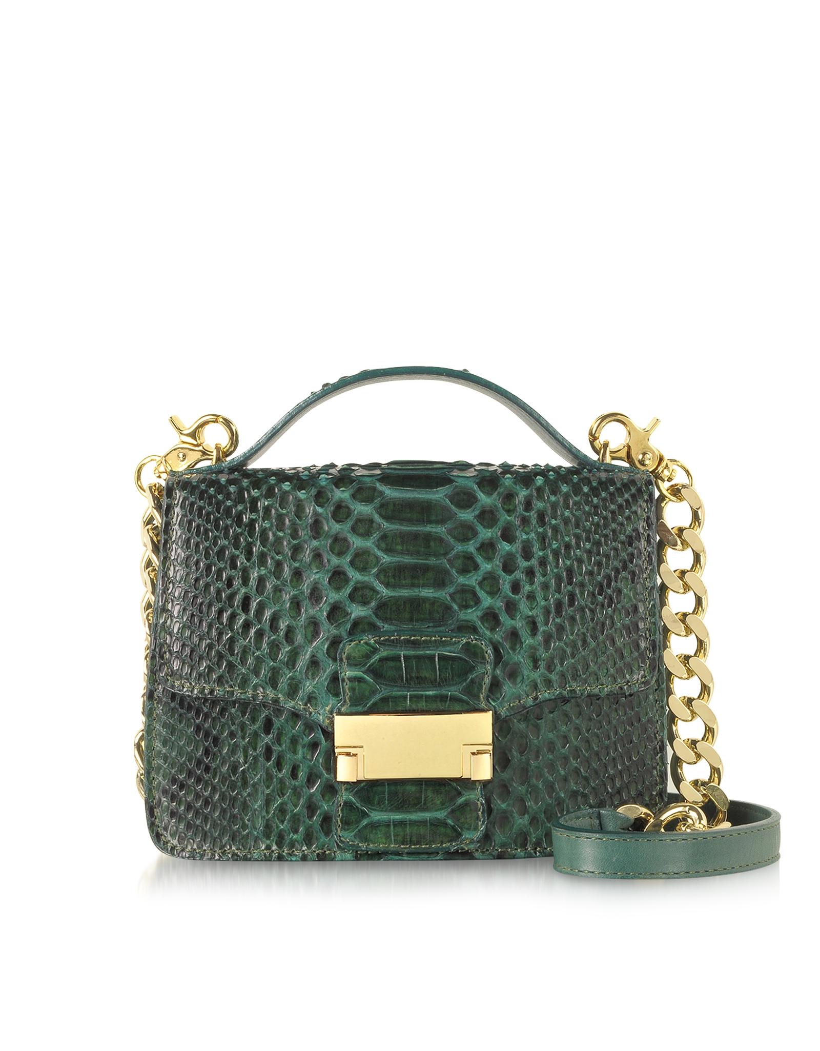 Ghibli emerald green python leather shoulder bag